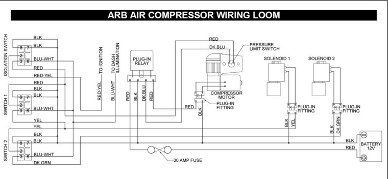ARB_Wiring_diagram arb locker wiring harness diagram wiring diagrams for diy car arb locker switch wiring diagram at bakdesigns.co